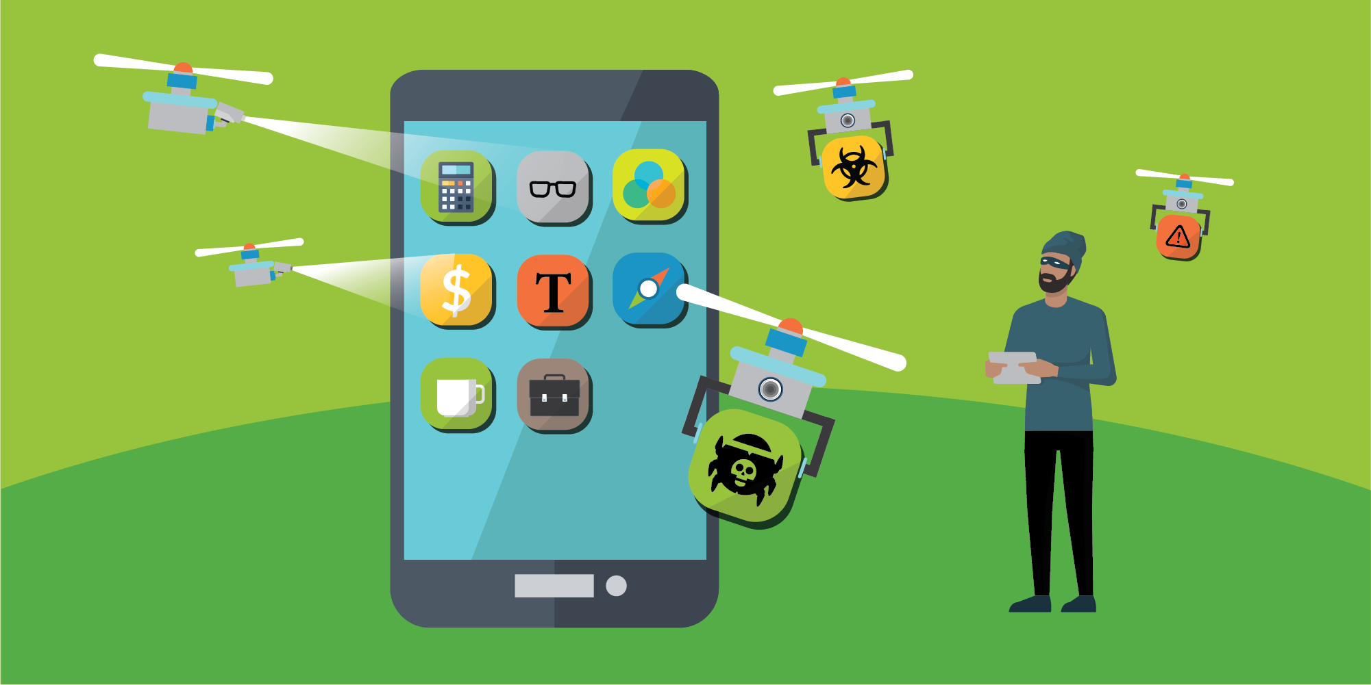 Data leakage from mobile applications, as illustrated here, can make users trackable and open them to malicious attacks. The image shows a mobile device screen and icons representing attackers hovering around the device monitoring for leakage.