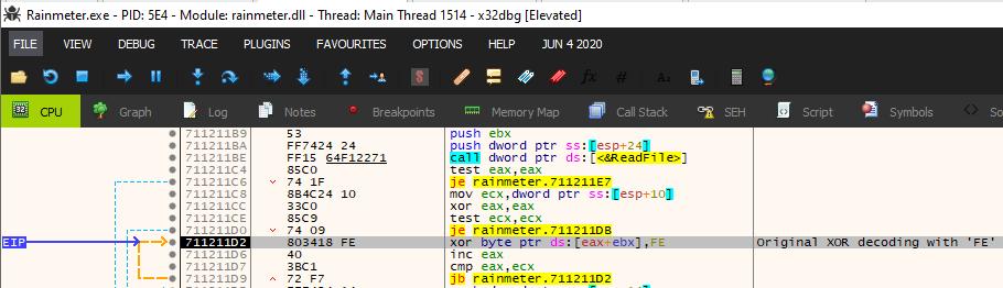 options.datのコンテンツがメモリに読み込まれると、サンプルは、コンテンツに対して値FEを使ってXOR演算をを行い、第1段階のデコードを実行します。