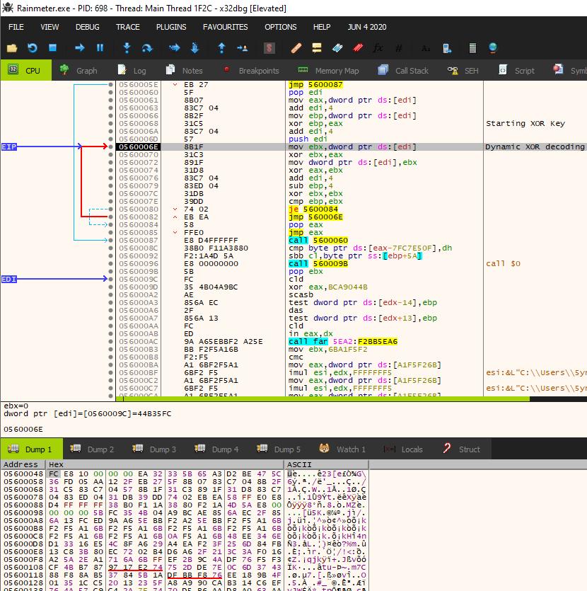 Vatetローダーの2番目のデコードルーチンでは、別の動的XORループを使用して、実行可能コードのコンテンツのデコードと書き換えが行われます。