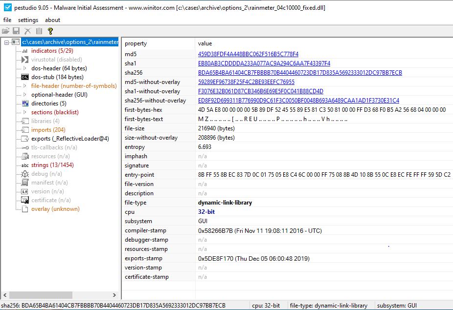 分離されたPEをPeStudioにロードしたところ、エクスポート関数の_ReflectiveLoader@4を参照していることが示されました。この関数は、Cobalt Strikeの既知のエクスポート関数です。