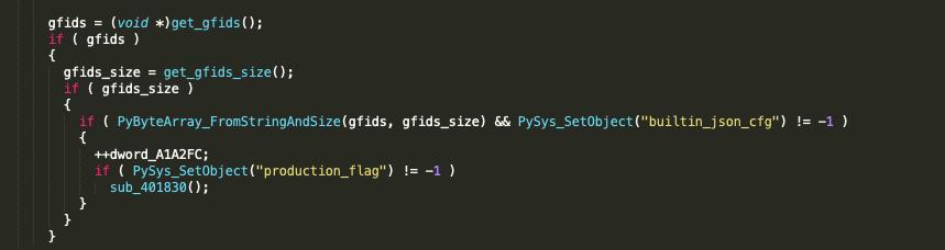 変数sys.builtin_json_cfgは、PySys_SetObjectを呼び出して作成されます。圧縮されている設定Blobは、この変数に保存され、後で最終段階のPythonコンポーネントで使用されます。