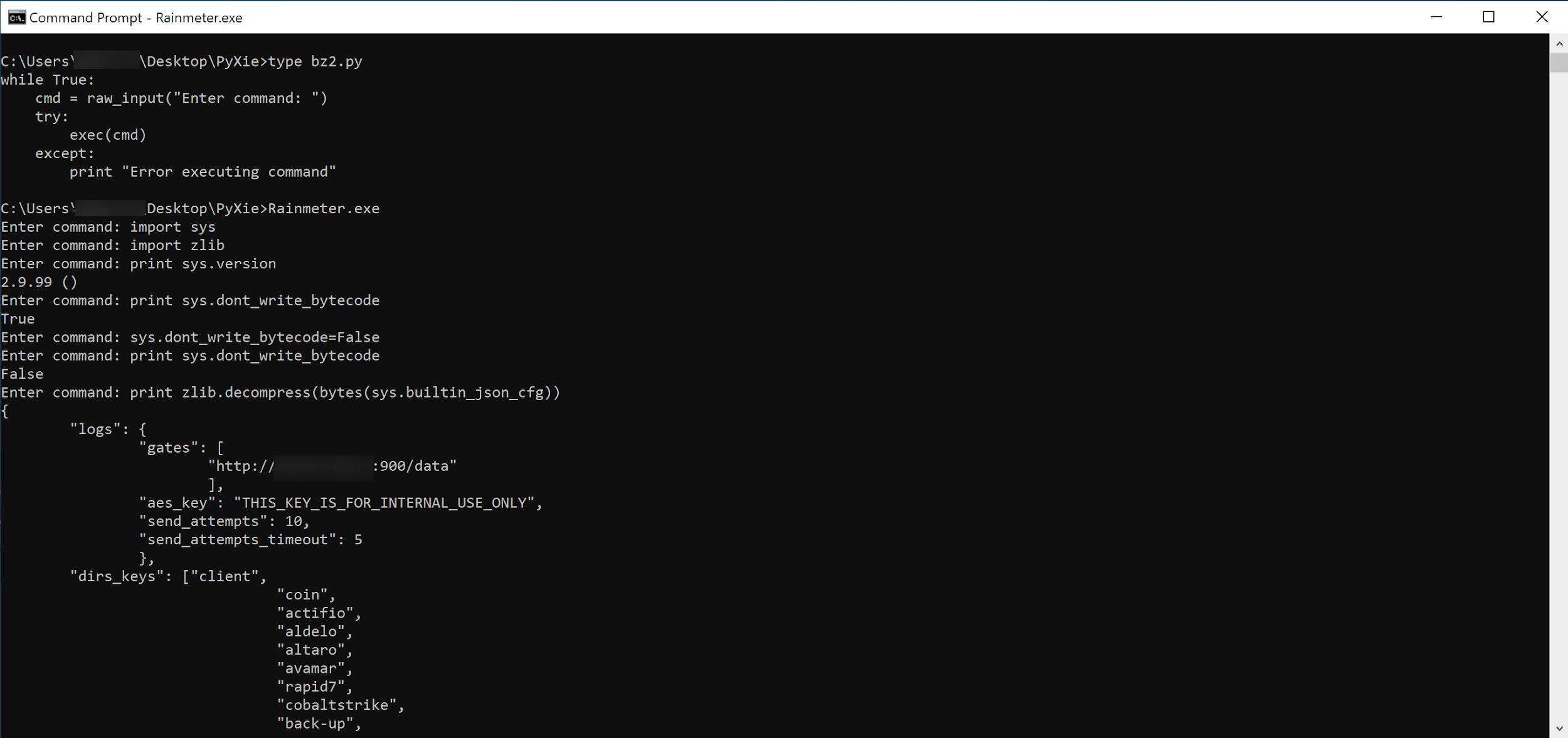 PyXieがインポートを試みたモジュールの1つに簡単なPythonシェルをドロップして、PyXieの検索順序の脆弱性を有利に利用することができました。