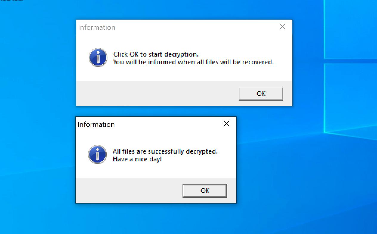 Defray777復号ツールのメッセージ。メッセージの内容は次のとおりです。