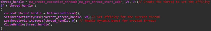Defray777は、ここで示すようにSetThreadAffinityMaskとSetThreadPriorityBoostを呼び出し、暗号化のスレッドを作成して優先する作業に重点を置きます。