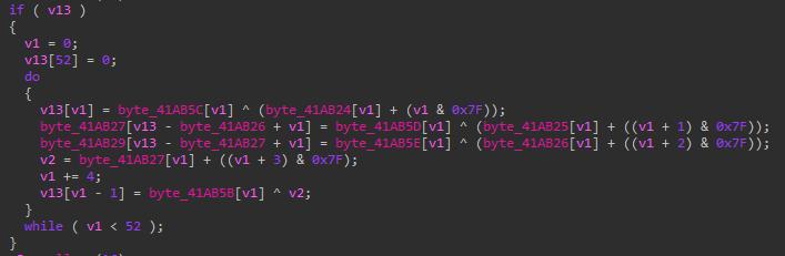 Defray777は、PyXieで使われていたのと同じ文字列暗号化を使用しています。また、VatetローダーであるTetrisの亜種でも、同じ文字列暗号化手法を確認しました。