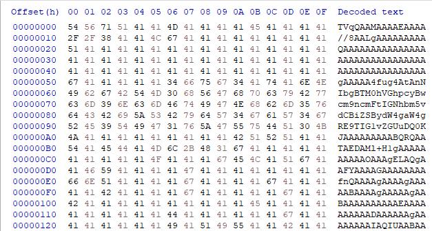 これは「逆になったbase64文字列」と「変換されたbase64データ」を表しています。これらは、njRATを監視し、ダウンローダーコンポーネントとその第2段階のマルウェアとの関係を追跡する一環として収集した情報の一部です。