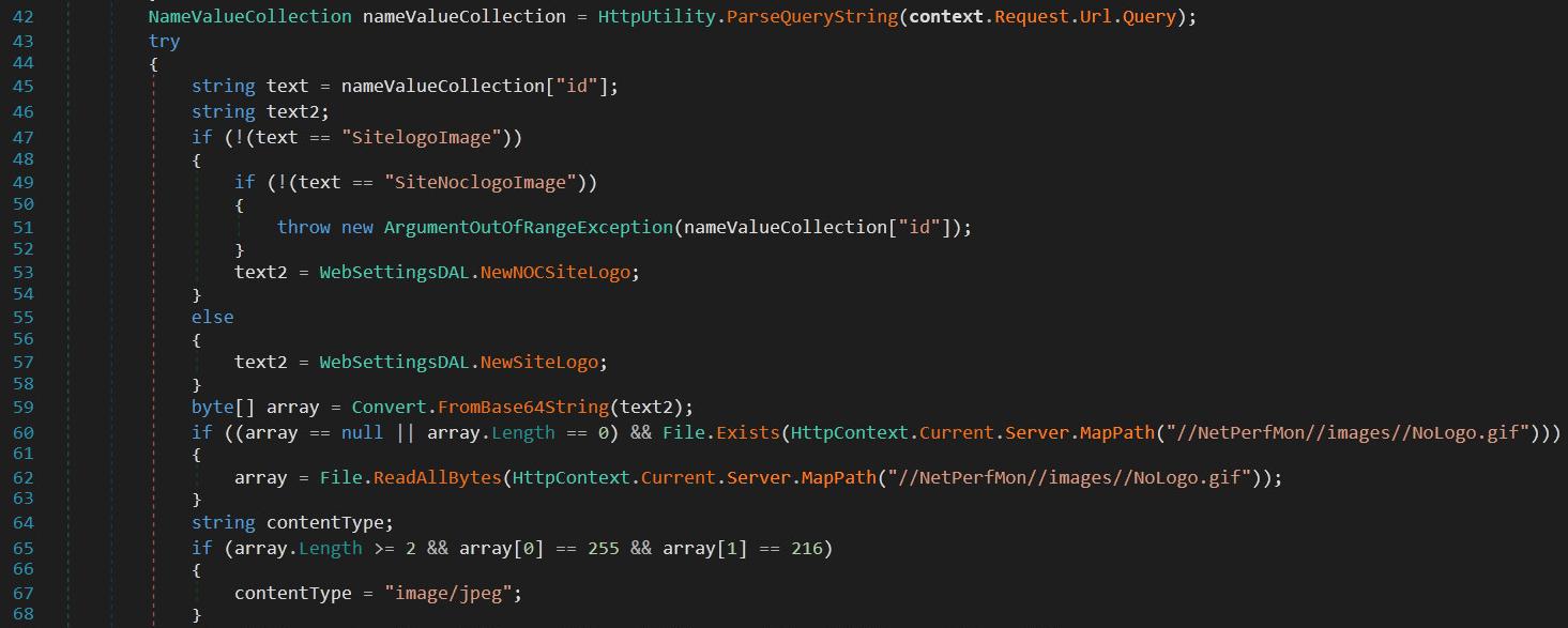 このコードは、Orion コンポーネントの正常または良性の内容を示しています。42 行目は、HTTP エンドポイントに供給されるパラメータのコレクションを定義しており、その中で id のみが有効で処理されます。