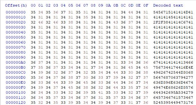 これは「16進数表記文字列でエンコードされた文字列」と「16進数表記文字列をデコード後エンコードされたbase64データ」を表しています。これらは、njRATを監視し、ダウンローダーコンポーネントとその第2段階のマルウェアとの関係を追跡する一環として収集した情報の一部です。