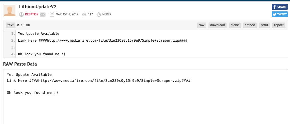 Pastebinのデータは、ProxyScraperソフトウェアを指すソフトウェアダウンロードリンクの提供に使用されています。