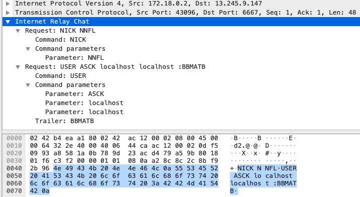 スクリーンショットは、IRCクライアントでキャプチャされたIRCトラフィックを示しています。IRCサーバーのメタデータが示すのは、当該サーバーが展開されたのが2021年の1月9日であること、現在このサーバーには接続されている約220のクライアントがあることです。