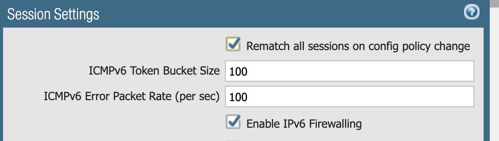 このスクリーンショットは、IPv6ファイアウォールを有効にしてCVE-2021-24086などを緩和するためのセッションの設定を示しています。画像の下部にあるチェックボックスに注意してください。