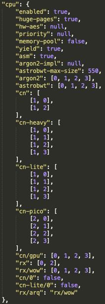 WatchDogマイナーの構成ファイルconfig.jsonを見ると、マイナーは侵害システムで最大4スレッドを使用することがわかります。