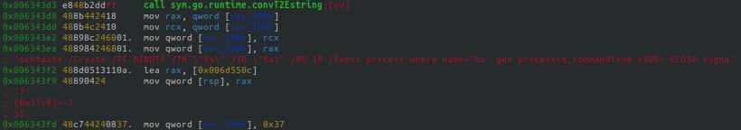 このバイナリは、対象OS内にマイニングソフトウェアを埋め込みます。Windowsシステムの場合は、タスクをスケジュール化することでこれを実現します。phpguardの関連するセクションをここに示します。