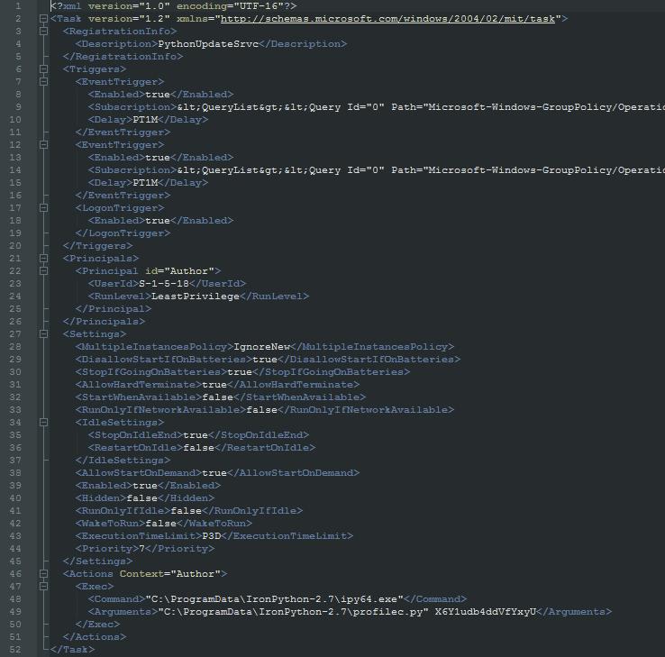 図2 IronNetInjector用のWindowsタスクXMLファイル