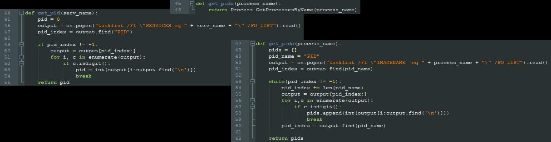 図4 さまざまなIronPythonスクリプトのPID取得関数の違い