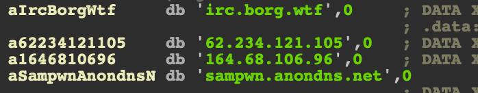 コンテナへの最初の足がかりを得ると、マルウェアはC2に戻るIRCチャネルを確立する可能性があります。IRCサーバーはziggyバイナリ内にハードコードされています。