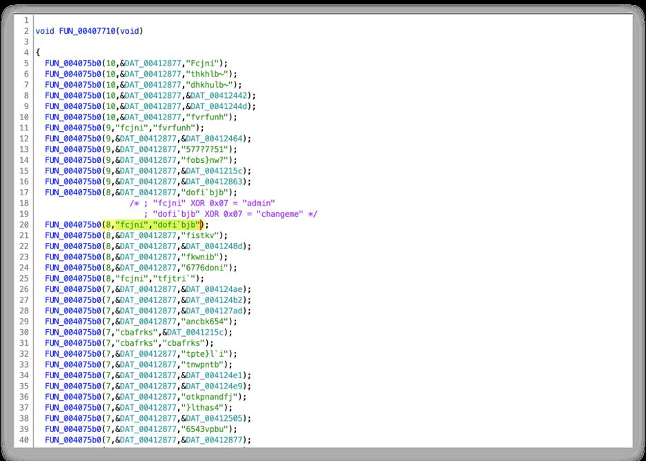図3 XORアルゴリズムとキー0x07で暗号化されたパスワード