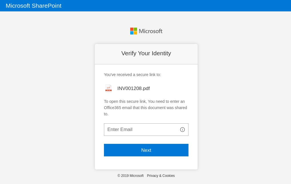 ユーザーがフィッシングメールのリンクをクリックした場合にアクセスすることになる偽のMicrosoft Sharepointログインページ