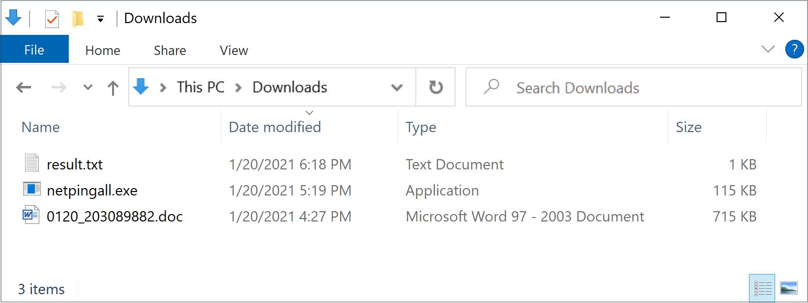 1週間後の1月20日、同じツールの新しいサンプルが、ここに示すようにnetpingall.exeという名前になりました。