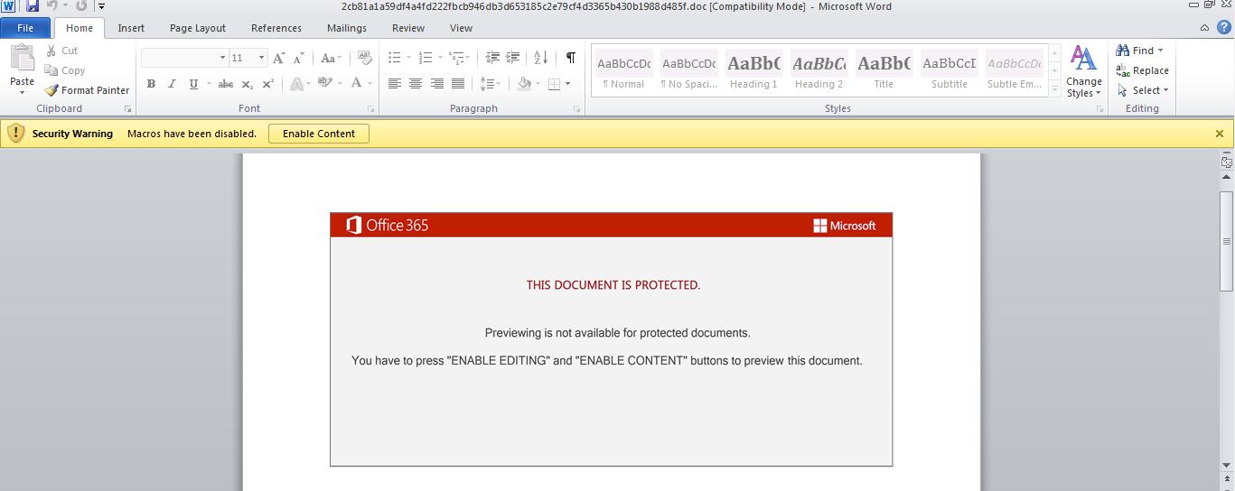 図1: この悪意のあるWord文書にはEmotet攻撃チェーンを開始するマクロが組み込まれている。