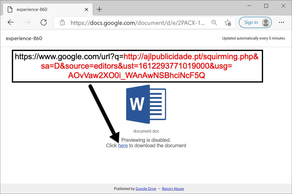 このGoogleドライブのURLは、Word文書をダウンロードするリンクを含むWebページを表示します。