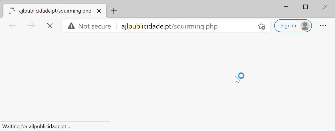 偽DocuSign電子メールのリンクをクリックすると、次に示すように、Webブラウザが悪意のあるURLを読み込みます。