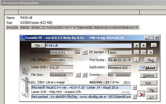 図16: ダウンロードされたDLLファイルでのExeInfoPEファイルの特定。