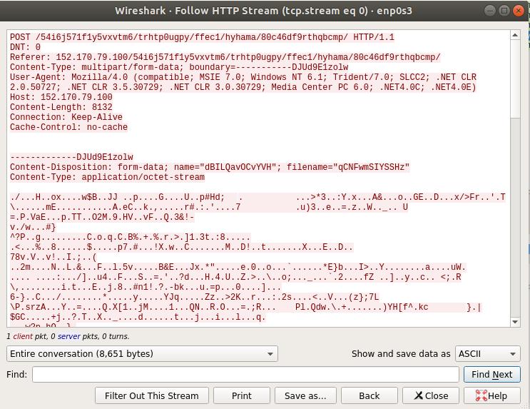 図25: C2サーバーに送信され、Wiresharkによって取得されたデータ