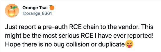 Microsoft Exchange Serverの攻撃タイムラインは、「認証前のRCEチェーンをベンダにたったいま報告した」というユーザーOrange Tsai(@orange_8361)のTwitter投稿で始まりました。This might be the most serious RCE I have ever reported!(これは私が今までに報告した中で最も深刻なRCEかもしれません!)Hope there is no bug collision or duplicate XD(バグ報告の衝突とか重複とかがないといいけど)