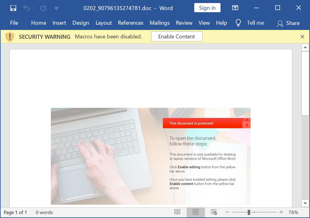 DocuSignをテーマにしたマルウェアに由来するWord文書には、Hancitorのマクロを含めることがあります。悪意のある電子メールは、ユーザーに対し、ここに示したようなメッセージで、マクロを有効にするよう指示します。