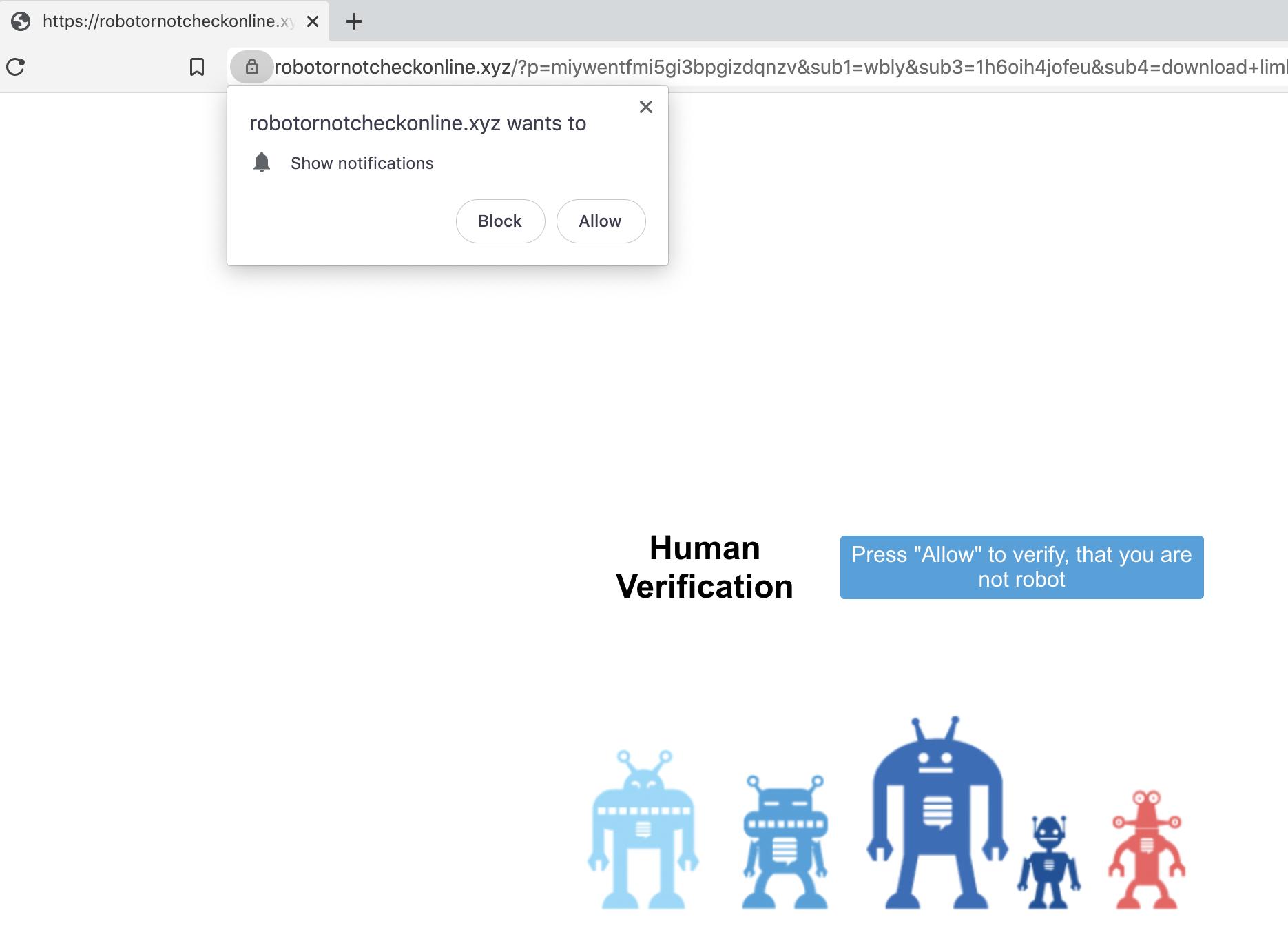 これは、WebブラウザでWebサイトにアクセスしたときの許可の要求を示しています。これにより、ユーザーがプッシュ通知を受信するように設定されます。その多くは、マルバタイジングを伴う可能性があります。