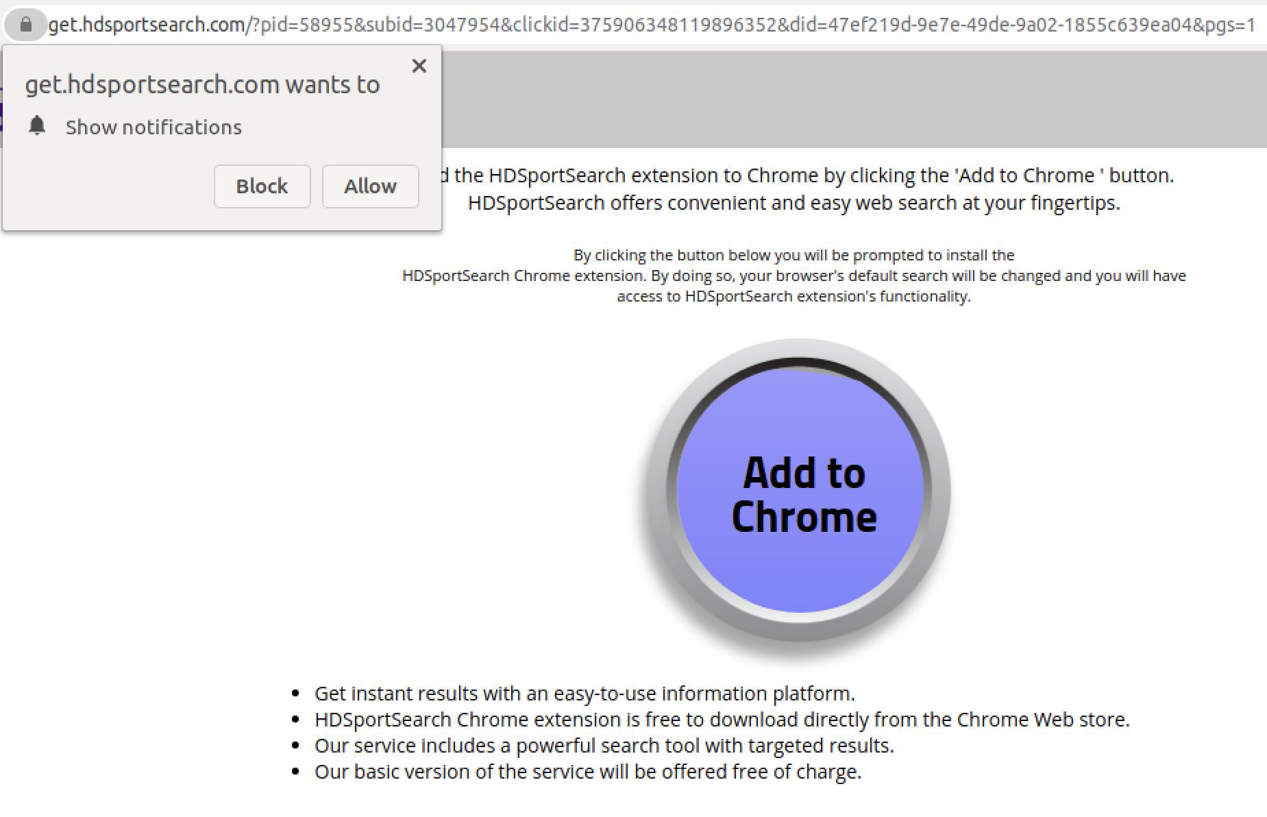 私たちが観測したPDFファイルで最も人気のあるフィッシングトレンドの1つであるCAPTCHAフィッシングのサンプルがこちら。ユーザーとの継続的な関係を確立しようとするWebページにつながることがある。ここに示す例では、ユーザーはプッシュ通知を許可してGoogle Chrome拡張機能をダウンロードするように求めるWebサイトに移動する