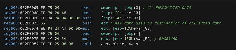 図13 暗号化されていないC2データの最終コピーを作成する関数呼び出し