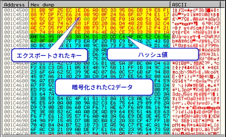 図20 メモリ内のエクスポートされたキー、ハッシュ値、暗号化されたC2データのバイト
