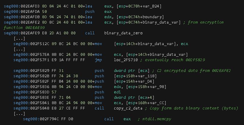 図22 バイナリデータをWebフォームにコピーするための関数呼び出し