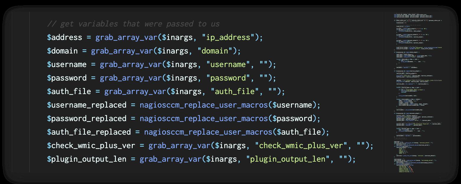 Nagios XIのファイルwindowswmi.inc.phpの内容を示す画像。一番下の行には、plugin_output_lenのテキストが示されています。