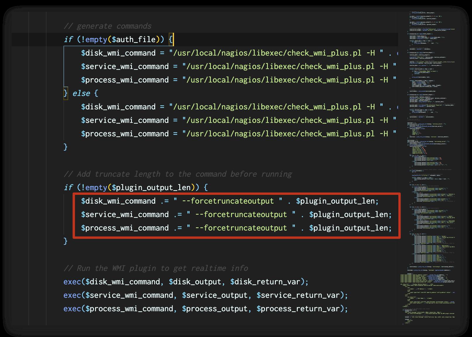 Nagios XIのコードビューを示す画像。コールアウトボックスは、plugin_output_lenが既存のコマンドに直接追加されることを強調しています。