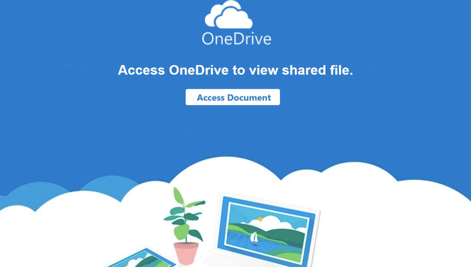 この図はOneDriveロゴが付いたPDFファイルの画像を示しており、ユーザーにクリックを求めています。